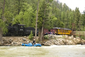 Camp Needleton Train and Raft Stop, Weminuche Wilderness, Durango, Colorado! Mountain Waters Rafting