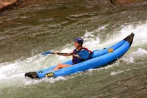 Inflatable Kayaker on Animas River