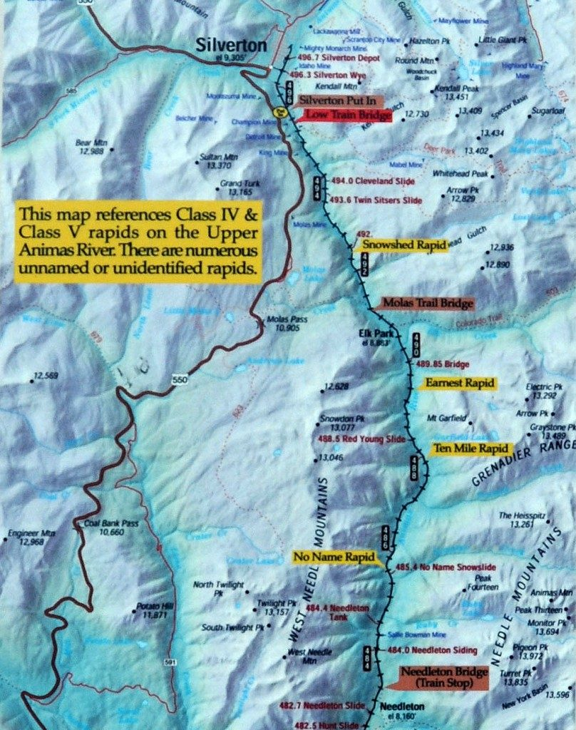 Mountain-Waters-Rafting-Upper-Animas-River-Silverton-Durango-Colorado-Map