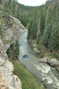 Piedra River with rafts from above, Pagosa Springs Colorado
